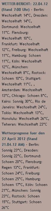 WETTER-BERICHT: 22.04.12 (Stand 7:00 Uhr) - http://www.schoeneswetter.com/wetterwuensche/wetter-2012/april-2012/wetter-22-april-2012.php