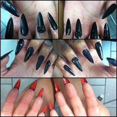Long Stiletto Claws, cute for an edgy Valentines Day look. #hellokaylaranaenails nails