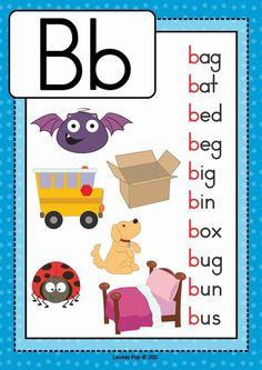 Alphabet Posters with CVC Words by Lavinia Pop Phonics Flashcards, Alphabet Phonics, Phonics Words, Phonics Reading, Teaching Phonics, Phonics Worksheets, Cvc Words, Alphabet Activities, Kindergarten Reading