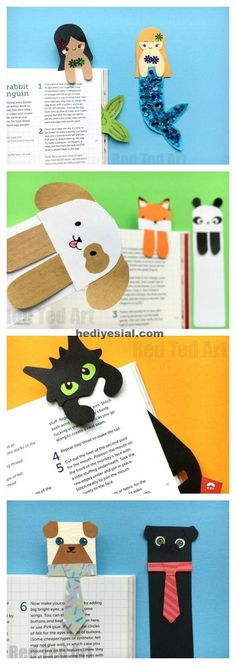 "Oh how we love a Paper Bookmark DIY. Here are some cute and quirky ""Hug a Book"" Bookmark DIYs. Aren't they the cutest? The Tie & Pug Bookmark cracks me up (perfect for Father's Day or male teachers), the Mermaids are just adorable. Bookmarks Diy Kids, Creative Bookmarks, Paper Bookmarks, Corner Bookmarks, Crochet Bookmarks, How To Make Bookmarks, Bookmark Template, Origami Bookmark, Bookmark Ideas"