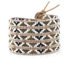 Gold, Black and White Miyuki Seed Beads on Natural