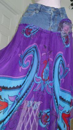 Déesse bohemian goddess jean skirt deep purple turquoise silk aymmetrical fairy hem  Renaissance Denim Couture faerie lavender violet blue