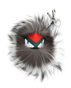Fendi charm in silver dyed fox fur (Finland) with calf leather monster  face. Please note  Bag, shown, is sold separately. d073da6b0a