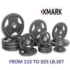 Xmark Fitness PREMIUM QUALITY RUBBER COATED TRI-GRIP OLYMPIC PLATE WEIGHTS FULL