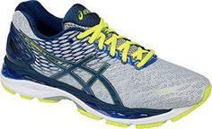 ASICS Men's Gel Nimbus 18 Running Shoe, Silver/Ink/Flash Yellow, 10 4E US