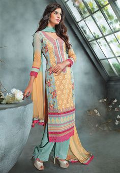Beige and Teal Blue Faux Georgette Kameez with Straight Pant: KTP699