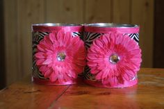 DIY Utensil Holder or Pencil cup. Made with Duck Tape, ribbon, clip-on/glue-on flowers, and recycled baby formula cans. Tin Can Crafts, Fun Crafts, Diy And Crafts, Crafts For Kids, Paper Crafts, Baby Formula Containers, Baby Formula Cans, Formula Can Crafts, Recycled Tin Cans