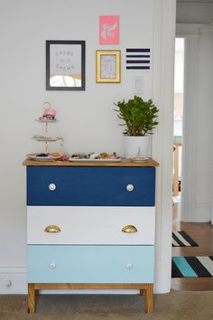 This Tarva dresser got a major facelift with an ocean-inspired color palette for the drawer fronts and new hardware as well.