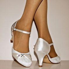 NEW Ladies Wedding Bridal Diamante Ivory Satin Low Heel Court Shoes Size -002/1