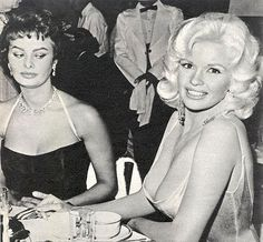 Sophia Loren and Jayne Mansfield. Love the look Ms Loren is giving Jayne's cleavage!.