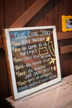 Our love story repurposed window. Paint pens on glass. Easy DIY wedding decor.