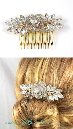 Crystal Rose Gold Wedding Hair Comb, Garden wedding, roses, feather, Accessories, Pink Gold, Champagne, Rhinestones, Crystal, www.glitzandlove.com, by GlitzAndLove