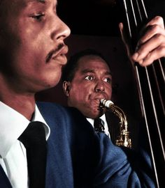 Charlie Parker and Tommy Potter - gorgeous portrait of this pair of jazz musicians on bass and saxophone.