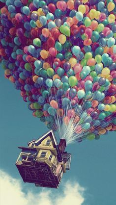 I always thought the colors of the balloons in the movie up was fanatically put together. The colors are all primary colors which seem to blend in nicely to the sky.