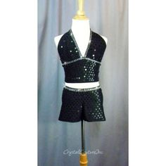 Encore Costume Couture | Black Sequined Halter Top & Booties - Swarovski Crystal - Size AM - Jazz - Costumes
