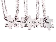 Personalized Miles Apart But Close In Our Hearts Puzzle Piece Necklace Set- Puzzle Pieces - Hand Stamped Puzzle Piece Necklace Set of 5 on Etsy, $75.00