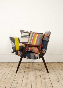 Textured stripe print with a selection of cushions by Tamasyn Gambell