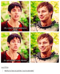 Arthur doesn't treat Merlin very well. Only if he knew how powerful Merlin was. How many people don't tease their siblings and treat them a bit rough? Merlin Funny, Merlin Memes, Merlin Quotes, Sherlock Quotes, Sam Winchester, Hunger Games, It's Over Now, Merlin Fandom, Ella Enchanted