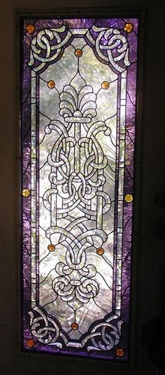 Art Nouveau / Art Deco Stained Glass Windows and Doors Gallery Celtic Stained Glass, Stained Glass Door, Glass Panel Door, Stained Glass Designs, Stained Glass Projects, Stained Glass Patterns, Leaded Glass, Beveled Glass, Etched Glass
