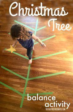 Christmas Tree Balance Activity for Kids. Great for gross motor development!