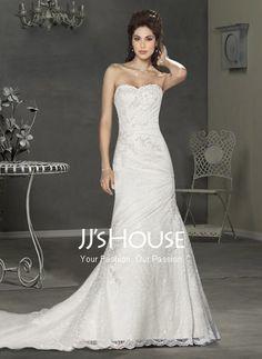 Wedding Dresses - $227.99 - Sexy A-Line/Princess Sweetheart Chapel Train Satin  Lace Wedding Dress with Ruffle  Lace  Beadwork (002000460) jjshouse.com