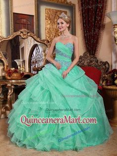 Sweetheart Organza Appliques and Ruching Quinceanera Dress in Apple Green