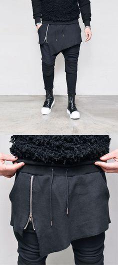Bottoms :: Sweatpants :: Honeycomb Zip Skirt Layered Baggy-Sweatpants 334 - GUYLOOK Men's Trendy Fashion Clothing Online