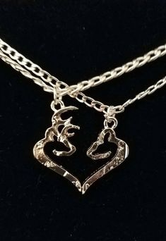 Items similar to Her Buck His Doe 2 Piece Necklace Set! Gift For Couples, *Silver Toned* His and Hers Necklaces, Buck & Doe Necklace Country Wedding! Cute Couple Necklaces, His And Hers Necklaces, Pretty Necklaces, Minimal Jewelry, Simple Jewelry, Fine Jewelry, Jewelry Making, Circle Necklace, Necklace Set