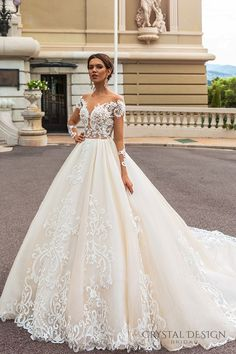crystal design 2017 bridal long sleeves off the shoulder deep sweetheart neckline heavily embellished bodice elegant princess a  line wedding dress keyhole back royal train (ellery) mv