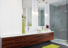 Armoires de salle de bains modernes en MDF laqué et rosewood   Québec Interior Design Living Room, Double Vanity, Mirror, Bathroom, Furniture, Simple, Home Decor, Room Ideas, Articles