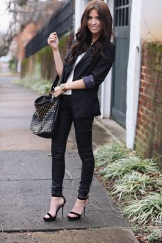 Shoes: c/o Windsor, Pants: H & M, Peplum top: Zara, Blazer: Nordstrom, Bag: NastyGal