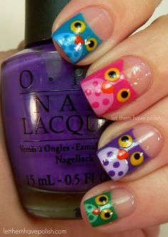 OWL NAIL ART TUTORIAL - the little owl base was made by using the same  technique used  for a half -moon mani.  The bases are: Jade is the New Black, Funkey Dunky, Pink Flamenco and Shower Together. For the Bellies: Ancient Jade, Haze, Sparrow me the Drama and Yummy.