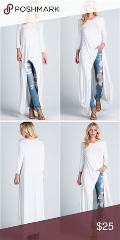 """White knit hi low tunic solid top White knit hi low tunic solid top featuring 3/4 sleeve, loose fit, round neck, comfortable, a soft and snug knit material.  Fabric content: 95% Rayon; 5% Spandex.           Model is 5'10"""" tall and wearing size small; 34"""" bust, 25"""" waist, 36"""" hips. Tops Tunics"""