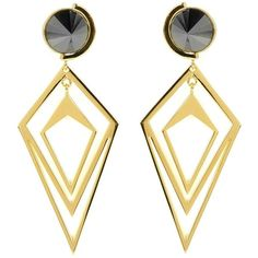 Sarah Magid Delaunay Orbital Hematite Earrings found on Polyvore featuring jewelry, earrings, gold, sarah magid, hematite earrings, polish jewelry, cut out jewelry и hematite jewelry