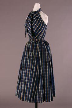 Balenciaga Afternoon dress- 1950 Plaid synthetic halter dress