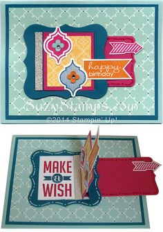 Stampin' Up! Cards - 2014-04 Class - Mosaic Madness, Perfect Pennants, Hello Lovely and Banner Greetings Hostess stamp sets, Peekaboo Frames Die, Mosaic and Decorative Label Punches, Quatrefancy Specialty Designer Series Paper.