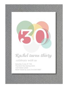 30th Birthday invitation/or any age/  woman / retro circle design / pdf printable / customised on Etsy, $16.00 AUD