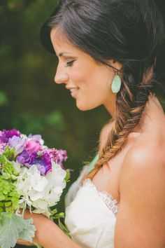 Love this fishtail braid...so romantic! From http://www.stylemepretty.com/2012/08/31/nashville-wedding-at-mcconnell-house-from-brandon-chesbro/  Photo Credit: http://brandonchesbro.com/