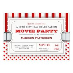 movie birthday party decorations | Movie Party Birthday Party Admission Ticket | Red ... | party ideas
