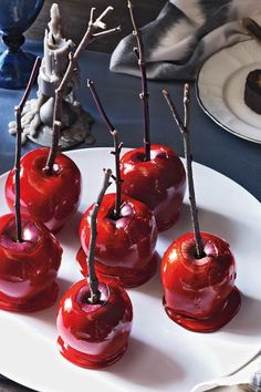 Candy Covered Apples: Create a bewitching version of this beloved candy-coated treat by dipping small Red Delicious apples in a bright red syrup flavored with red cinnamon candies. This sweet treat is easy to make dessert and great for parties. Find more easy, creative, and inexpensive Halloween desserts here.