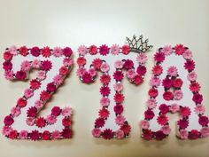 Sorority letters | greek | greek letters | sorority | ZTA | zeta tau alpha | pink | flowers | crafts | big | little | big little reveal | made these for my little (: