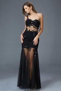 G2012 Sheer Illusion 1 Shoulder Faux 2 Piece Prom Dress