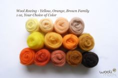 Yellow, Orange, Brown Color Family Needle Felting Wool Roving / Wet Felting Wool Roving, 1 oz Your Choice of Color. $4.00, via Etsy.