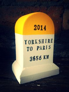 Here's our Yorkshire to Paris miniature km marker. This is the route of the 2014 Tour de France