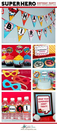 INSTANT DOWNLOAD, Birthday, Superhero Party Printable Package, You Edit Yourself in Adobe Reader-Etsy
