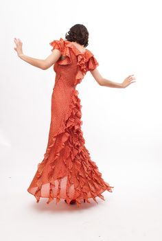 Vintage 1930s Party Dress - Red Pentagon Print