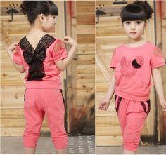 Minnie raton ropas, nuevo 2014, niños niña ropa set, niñas juego de ropas, deporte traje, encaje, verano, camiseta + pantalones set