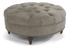 Flexsteel Furniture: Ottomans: MartinCocktail Ottoman with nails (7415-094) also in leather from Charlton Furniture.