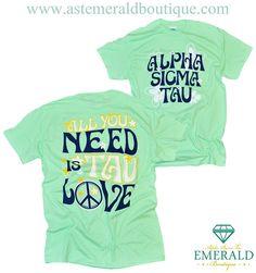 All You Need Is Tau Love Alpha Sigma Tau Pocket Tee!! Peace Love & Emerald Boutique