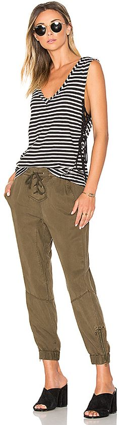 Lace up striped tank & olive pants